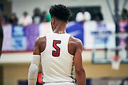 NORTH AUGUSTA, SC. July 10, 2019. Coban Porter 2020 #5 of MoKan Elite 17U at Nike Peach Jam in North Augusta, SC. <br /> NOTE TO USER: Mandatory Copyright Notice: Photo by Jon Lopez / Nike