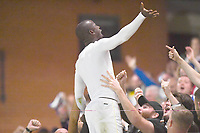 Football - 2021 / 2022 EFL Carabao Cup - Round One - Leyton Orient vs Queens Park Rangers - The Breyer Group Stadium<br /> <br /> Albert Adomah of Queens Park Rangers jumps into the fans after scoring the winning penalty in the shoot out.<br /> <br /> COLORSPORT/Ashley Western