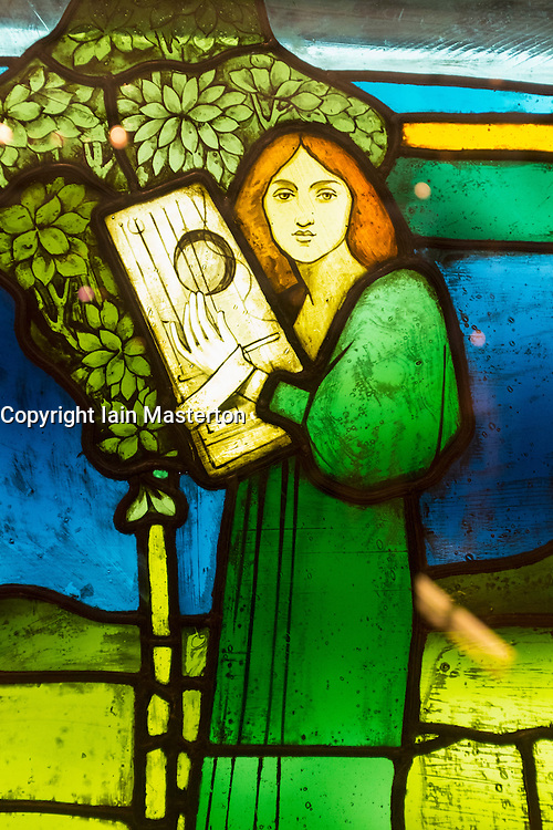Detail of coloured glass panel called Music by David Gauld on display at Kelvingrove Art Gallery and Museum in Glasgow United Kingdom