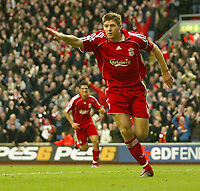 Photo: Aidan Ellis.<br /> Liverpool v Bolton Wanderers. The Barclays Premiership. 01/01/2007.<br /> Liverpool's Steven Gerrard celebrates scoring the second goal