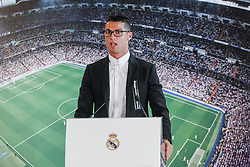 Soccer player Cristiano Ronaldo renews his contract with Real Madrid until 2021 at Santiago Bernabeu Stadium in Madrid, Spain, on November 07, 2016. Photo by Archie Andrews/ABACAPRESS.COM