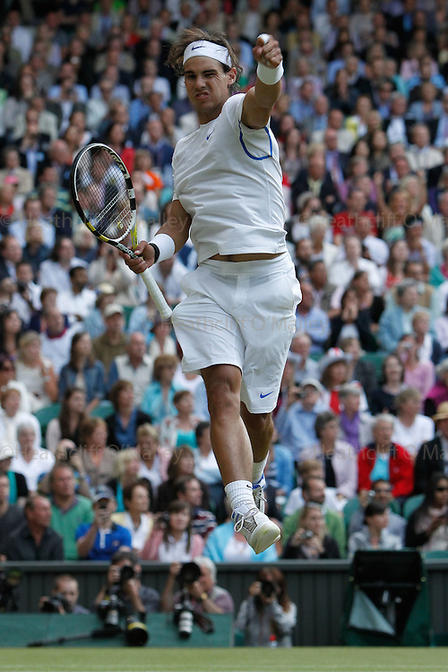 Mcc0032212 . Daily Telegraph..Rafael Nadal celebrates his 4 set victory over Andrew Murray in the Mens Singles Semi Finals ...The eleventh day of The Lawn Tennis Championships at Wimbledon..London 1 July 2011