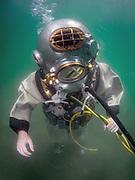 US Navy Mark-V commercial diver commercial diver at Dutch Springs, Scuba Diving Resort in Bethlehem, Pennsylvania