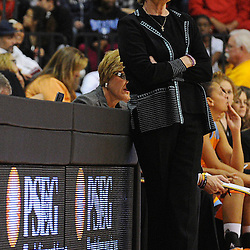 Tennessee Lady Volunteers head coach Pat Summitt watches during second half NCAA Women's Basketball action between the Rutgers Scarlet Knights and Tennessee Lady Volunteers at the Louis Brown Athletic Center. Tennessee defeated Rutgers 67-61.