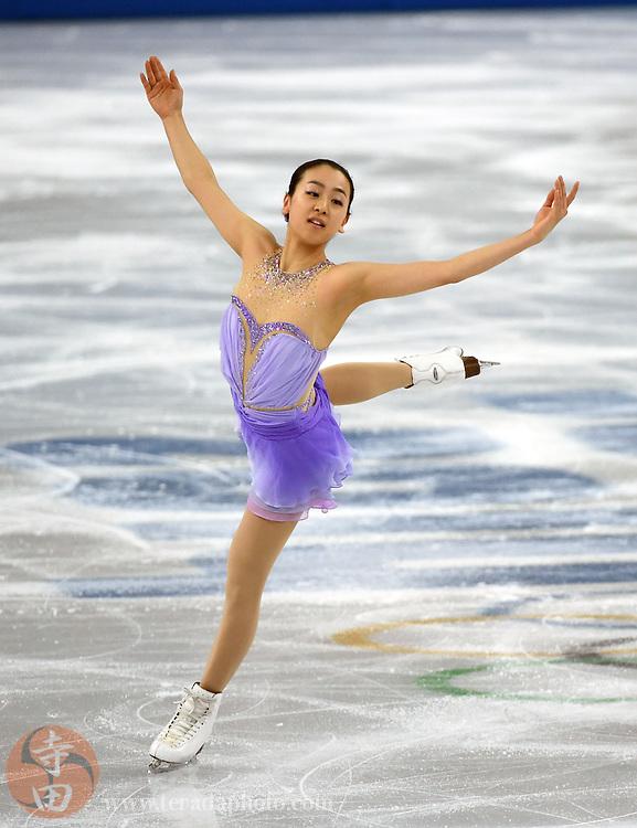 Feb 19, 2014; Sochi, RUSSIA; Mao Asada of Japan performs in the ladies short program during the Sochi 2014 Olympic Winter Games at Iceberg Skating Palace.