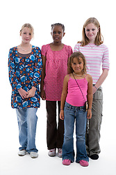 Multiracial group of girls in the studio,