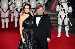 Daisy Ridley (left) and Mark Hamill attending the european premiere of Star Wars: The Last Jedi held at The Royal Albert Hall, London.