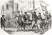 The Peasants' Revolt of 1381 in England began in Brentwood, Essex as a protest at the collection of poll tax and reached a climax at Smithfield, London.  Richard II (1367-1800) met the Kentish peasants who, under Watt Tyler (d1381), were demanding the end of serfdom. During the meeting William Walworth (d1385) Lord Mayor of London, wounded Wat Tyler who was taken to St Bartholomew's Hospital but was later dragged out of the hospital and beheaded. Walworth threatening Tyler.   19th century engraving.
