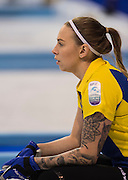 """Glasgow. SCOTLAND.  Sweden's Sofia MABERGS, tracking the path of the """"Stone, during the """"Round Robin"""" Games. Le Gruyère European Curling Championships. 2016 Venue, Braehead  Scotland<br /> Monday  21/11/2016<br /> <br /> [Mandatory Credit; Peter Spurrier/Intersport-images]"""