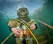 John Date helmet commercial diver at Dutch Springs, Scuba Diving Resort in Bethlehem, Pennsylvania