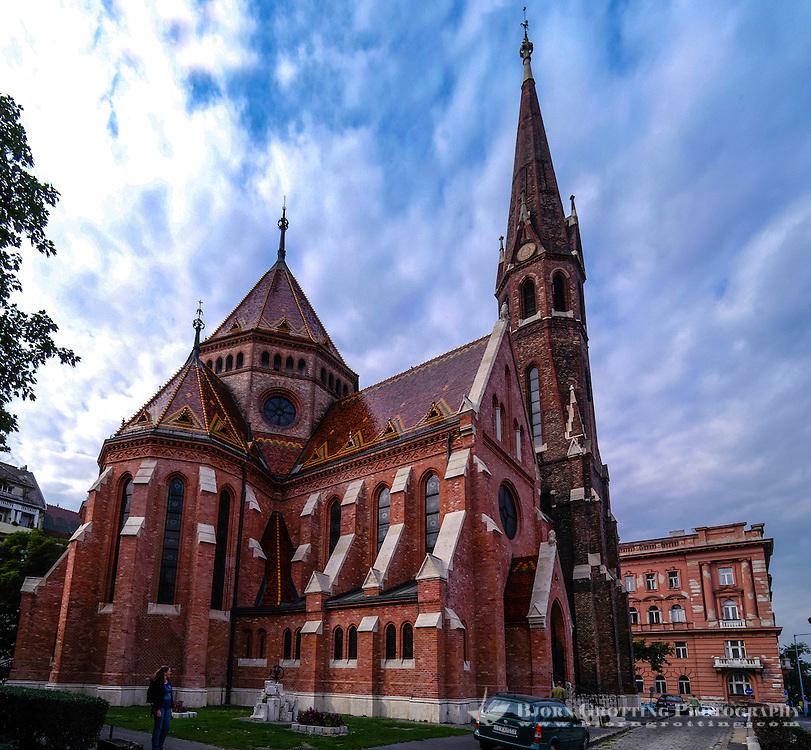 Budapest, Hungary.  The Inner City Calvinist Church below Castle Hill.