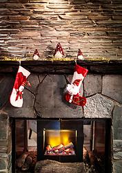 THEMENBILD - Nikolaus oder Weihnachtsstrumpf an einer Mauer eines Kaminofens, aufgenommen am 28. November 2017 in Ruka, Finnland // Santa Claus or Christmas stocking on a wall of a stove on 2017/11/28 in Ruka, Finland. EXPA Pictures © 2017, PhotoCredit: EXPA/ JFK