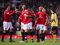 MANCHESTER, ENGLAND - MONDAY SEPTEMBER 20th 2004: Manchester United's match winner Mikael Silvestre celebrates after beating Liverpool 2-1 during the Premiership match at Old Trafford. (Photo by David Rawcliffe/Propaganda)