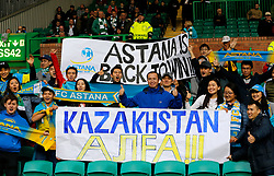 FC Astana fans show their support prior to the UEFA Champions League Play-Off, First Leg match at Celtic Park, Glasgow.