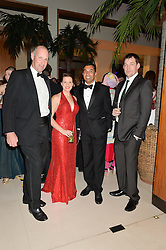 Left to right. ED PARKER co-founder of the Walking With The Wounded, MAJOR KATE PHILP, IBI ALI and DUNCAN SLATER at Steps To The Future -in aid of RAFT (Restoration of Appearance & Function Trust) and Walking With The Wounded held at The Hurlingham Club, London on 28th November 2014.