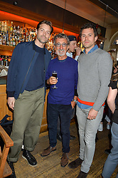 Left to right, PATRICK GRANT, EDDIE JORDAN and STEVE ASPINALL at a quiz night hosted by Zoe Jordan to celebrate the launch of her men's ZJKNITLAB collection held at The Larrick Pub, 32 Crawford Place, London on 20th April 2016.