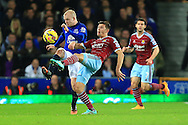 Steven Naismith of Everton injures himself against West Ham's Aaron Cresswell - Everton vs. West Ham United - Barclay's Premier League - Goodison Park - Liverpool - 22/11/2014 Pic Philip Oldham/Sportimage