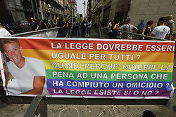 June 17, 2017 - Napoli, Campania/ Napoli, Italy - Court to give justice to Ciro Esposito. This morning there was the rally for the parade organized by the association Ciro Vive. Ciro Esposito is the fan who lost his life before the match of coopa Italy in Rome killed in a clash with a Romaness. Today, mom together with hundreds of young men and mums came down to the square to get under the prefecture's palace and deliver a document requesting an exemplary pen and not a reduction of the 26-year-old prison sentence to De Santis. (Credit Image: © Fabio Sasso/Pacific Press via ZUMA Wire)