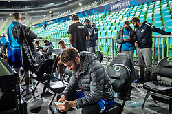 Alen Hodzic looking at his mobile after the practice session of National basketball team of Slovenia 1 day before match against Ukraine during FIBA Eurobasket Qualifiers, on November 27, 2020 in Arena Stozice, Ljubljana, Slovenia. Photo by Vid Ponikvar/ FIBA / Sportida