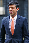 February 13, 2020, London, England, United Kingdom: Rishi Sunak, Chancellor of the Exchequer leaves 10 Downing Street, where he was given the job by Britain's Prime Minister Boris Johnson, as the former Chancellor Sajid Javid, resigned, in London, Thursday, Feb. 13, 2020. (Credit Image: © Vedat Xhymshiti/ZUMA Wire)