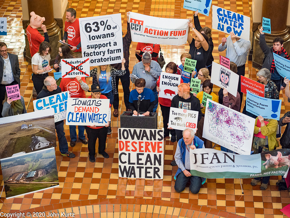 23 JANUARY 2020 - DES MOINES, IOWA: About 75 people, including farmers, environmental activists, and supporters of family farms,  protest in the rotunda of the state capitol in Des Moines against factory farms. They are trying to pressure Iowa lawmakers to pass a moratorium against new factory farm construction in Iowa.       PHOTO BY JACK KURTZ