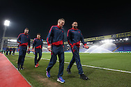 Bolton Wanderers players take a look at the pitch as they arrive at Selhurst Park before the match.  Emirates FA Cup 3rd round replay match, Crystal Palace v Bolton Wanderers at Selhurst Park in London on Tuesday 17th January 2017.<br /> pic by John Patrick Fletcher, Andrew Orchard sports photography.