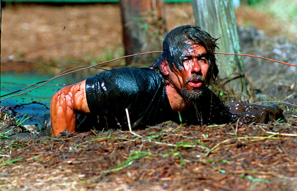 A member of the Lakeland Police Department Special Weapons and Tactics team competes in the obstacle course during a SWAT competition in Orlando, Florida.