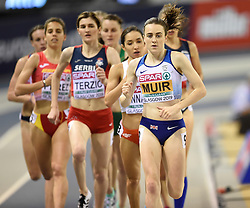 Great Britain's Laura Muir leads the pack round on her way to winning the gold medal in the Women's 1500m final during day three of the European Indoor Athletics Championships at the Emirates Arena, Glasgow.