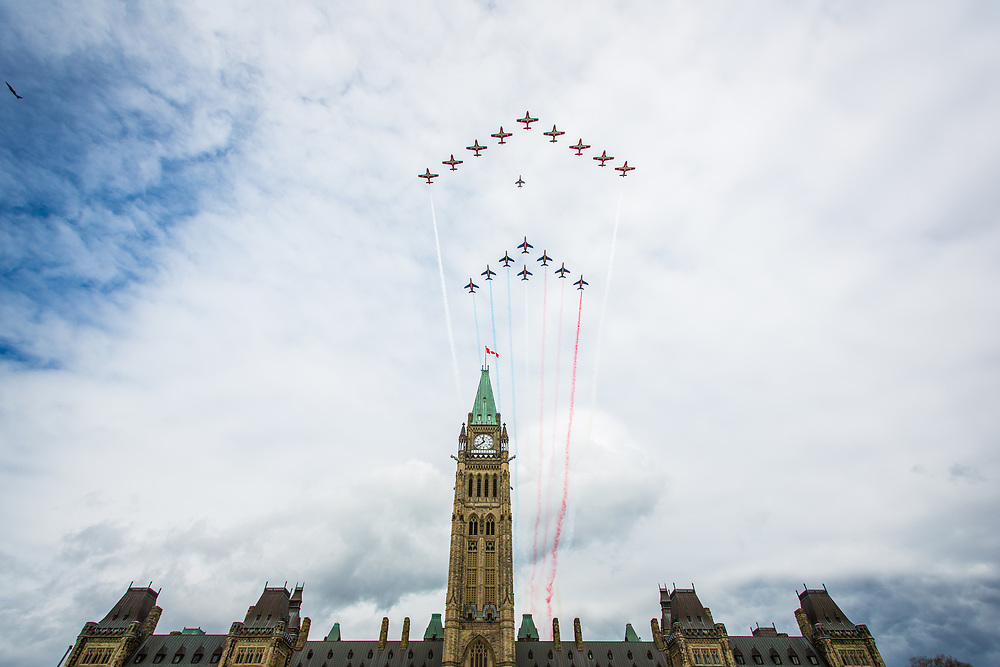 The RCAF's Snowbirds were joined by France's Patrouille De France for a flyby over Parliament Hill on May 2nd, 2017.
