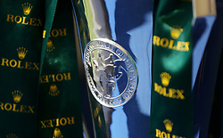 The Rolex Grand Slam Trophy on display during day five of the Mitsubishi Motors Badminton Horse Trials at The Badminton Estate, Gloucestershire. PRESS ASSOCIATION Photo. Picture date: Sunday May 6, 2018. See PA story EQUESTRIAN Badminton. Photo credit should read: David Davies/PA Wire