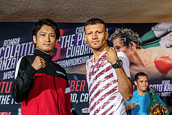 INGLEWOODS, CA - SEPTEMBER 6  Roman Gonzalez (45-0-0, 38 KOs)  and Carlos Cuadras (35-0-1, 27 KOs) attend the final press conference at the Forum for their WBC Super Flyweight World Championship fight Saturday Night at The Forum in Inglewood in Los Angeles. 2016 September 6.  Byline, credit, TV usage, web usage or link back must read SILVEXPHOTO.COM. Failure to byline correctly will incur double the agreed fee. Tel: +1 714 504 6870.