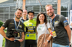 Primoz Roglic of Team Lotto NL Jumbo, Stage winner and winner in Overall classification with his girlfriend Lora Klinc and movie makers Job van der Zon and Daan Alkema  after the trophy ceremony after the 5th Time Trial Stage of 25th Tour de Slovenie 2018 cycling race between Trebnje and Novo mesto (25,5 km), on June 17, 2018 in  Slovenia. Photo by Vid Ponikvar / Sportida