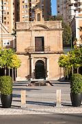 Small historic building, Paseo la Farola, port marina area city centre of Malaga, Spain