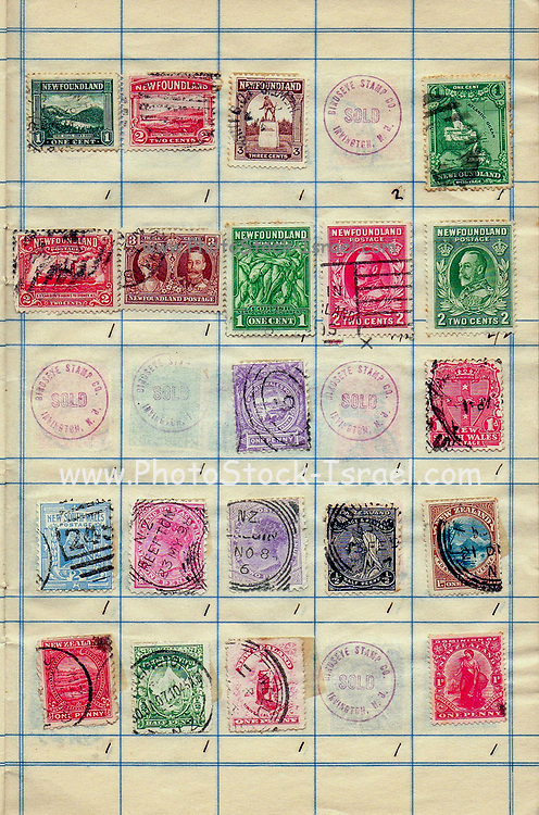 A collection of old stamps from Newfoundland and New Zealand Philately is the study of postage stamps and postal history.