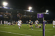 Cory Allen of Cardiff Blues © runs in to score his 2nd try of the match. European rugby challenge cup match, pool 4, Cardiff Blues v Pau at the BT Sport Cardiff Arms Park in Cardiff, South Wales on Friday 21st October 2016.<br /> pic by Andrew Orchard, Andrew Orchard sports photography.