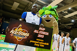 during Slovenian basketball All Stars Grosuplje 2013 event, on December 29, 2013 in Arena Brinje, Grosuplje, Slovenia. (Photo By Urban Urbanc / Sportida.com)