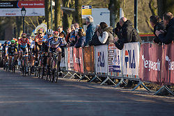 Megan Guarnier leads the front group with one lap to go - Drentse 8, a 140km road race starting and finishing in Dwingeloo, on March 13, 2016 in Drenthe, Netherlands.