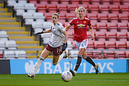 Arsenal Women forward Vivianne Miedema (11) and Manchester United Women defender Millie Turner (21) in action during the FA Women's Super League match between Manchester United Women and Arsenal Women FC at Leigh Sports Village, Leigh, United Kingdom on 8 November 2020.