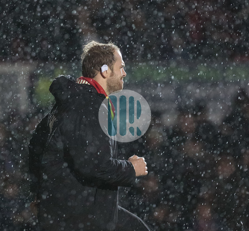 Ospreys' Alun Wyn Jones warms up<br /> <br /> Photographer Simon King/Replay Images<br /> <br /> Guinness Pro14 Round 12 - Dragons v Cardiff Blues - Sunday 31st December 2017 - Rodney Parade - Newport<br /> <br /> World Copyright © 2017 Replay Images. All rights reserved. info@replayimages.co.uk - http://replayimages.co.uk