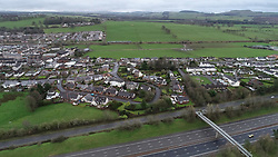 An aerial view of the area of Lockerbie where 30 years ago a PanAm Boeing 747 crashed into the town after a bomb was detonated on board.