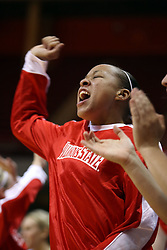 19 January 2008: Tamara Butler reacts with jubilation to a play that goes the way of the Redbirds.  Both the Indiana State Sycamores and the Illinois State Redbirds came to this game tied for 1st place and defeated in the Missouri Valley Conference.  The Redbirds in their 11th consecutive game 77-70 on Doug Collins Court inside Redbird Arena in Normal Illinois