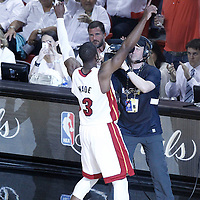 21 June 2012: Miami Heat shooting guard Dwyane Wade (3) pumps up the fans prior to Game 5 of the 2012 NBA Finals, at the AmericanAirlinesArena, Miami, Florida, USA.