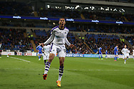 Isaac Hayden  of Newcastle Utd celebrates after he scores his teams 2nd goal .  EFL Skybet championship match, Cardiff city v Newcastle Utd at the Cardiff City Stadium in Cardiff, South Wales on Friday 28th April 2017.<br /> pic by Andrew Orchard, Andrew Orchard sports photography.