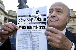 Mohamed Al Fayed departs from Edinburgh`s Court of Session, where a judge was asked to consider whether the crash which killed Diana, Princess of Wales and her lover Dodi Fayed was caused deliberately. The pair died when the Mercedes they were being driven in crashed in the Alma tunnel in Paris.
