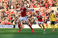 Michael Smith celebrates Swindon Towns 3rd goal during the Sky Bet League 1 Play Off Second Leg match between Swindon Town and Sheffield Utd at the County Ground, Swindon, England on 11 May 2015. Photo by Shane Healey.