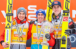 26.03.2017, Planica, Ratece, SLO, FIS Weltcup Ski Sprung, Planica, Siegerehrung, im Bild Kamil Stoch (POL, 2. Platz), Gesamtweltcup- und Skiflug Weltcup Sieger Stefan Kraft (AUT), Daniel Andre Tande (NOR, 3. Platz) // 2nd placed Kamil Stoch of Poland Overall World Cup and Ski Flying World Cup winner Stefan Kraft of Austria 3rd placed Daniel Andre Tande of Norway during the Winner Award Ceremony of the FIS Ski Jumping World Cup Final 2017 at Planica in Ratece, Slovenia on 2017/03/26. EXPA Pictures © 2017, PhotoCredit: EXPA/ JFK