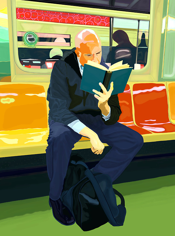 Man reading a book on the F train in New York City