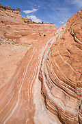 Orange and white striped rock patterns in Halfway Hollow along trail to Zebra Slot Canyon, Grand Staircase Escalante National Monument, Utah, USA. Directions to unmarked trailhead for Zebra and Tunnel Slot Canyons: From Escalante town, drive 6 miles east on Highway 12, turn right on Hole-in-the-Rock Road, drive 7.8 miles to the third cattle guard and park on west side of road. Hike east on well-trodden but unmarked path, 5 miles round trip to Zebra Slot, plus an optional 3 miles round trip to Tunnel Slot (750 feet gain over 8 miles), using map from GSENM Visitor Center or canyoneeringusa.com.