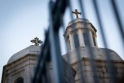 12 April 2019, Jerusalem: Churches seen through fence in the Jerusalem Old City.