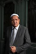 Portrait of Hassen Chalghoumi (born Tunis, 1972), the imam of the mosque in Drancy, in the 93, Seine-Saint-Denis, department near Paris. Chalghoumi presents himself as a moderate Iman, open for dialogue with the Jewish community and the French State. Paris, France, October 20, 2020.<br /> Portrait de Hassen Chalghoumi (né à Tunis, 1972), l'imam de la mosquée de Drancy, dans le 93, département de la Seine-Saint-Denis, près de Paris. Il se présente comme un Iman modéré, ouvert au dialogue avec la communauté juive et l'Etat français. Paris, France, 20 octobre 2020.